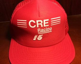 Vintage CRE Racing 16 red and white snapback trucker hat