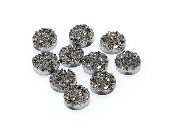 Gunmetal 12mm Faux Druzy Crystal Clusters Cabochons Chunky Nuggets Metallic Pewter Sfa0106
