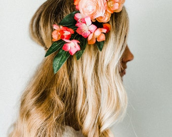 Whimsical Blush + Coral Flower Crown