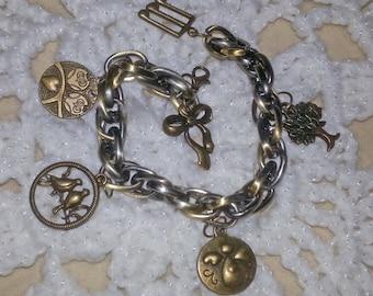 Bronze Triple Chain Charm Bracelet (E 289)