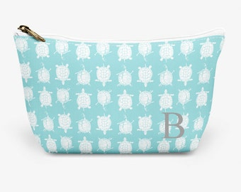 """Turtle Make Up Bag, Cosmetic Case, Carrying Pouch, Accessory Pouch 12.5""""x8.5"""" or 8.5""""x6"""""""