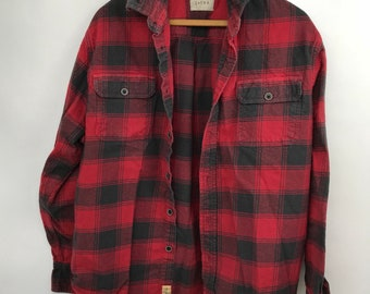 Vintage Thick Flannel - Large - Red and Black - Size Large