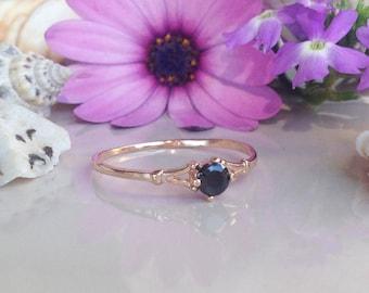 20% off-SALE!!! Black Onyx Ring - December Ring - Birthstone Ring - Slim Ring - Delicate Ring - Gold Ring - Prong Ring - Stacking Ring