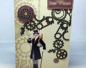 Male/Female Steampunk Fantasy Birthday Card - luxury quality bespoke UK cogs fantasy - mum/dad/brother/sister/son/daughter