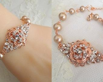Rose Gold bridal Bracelet pearl bracelet swarovski crystal Pearl and Rhinestone wedding bracelet statement bracelet champagne pearl ROSELANI