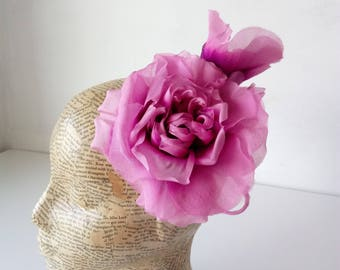 Extra Large Chiffon Flower - Pink - Millinery, hats, fascinators, races, weddings, hair accessories
