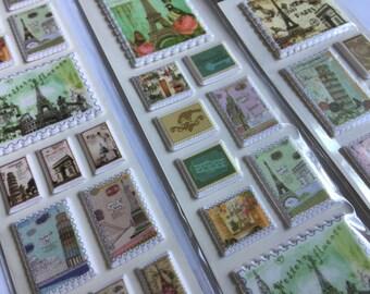 Sticker set vintage stamps sights (A1082)