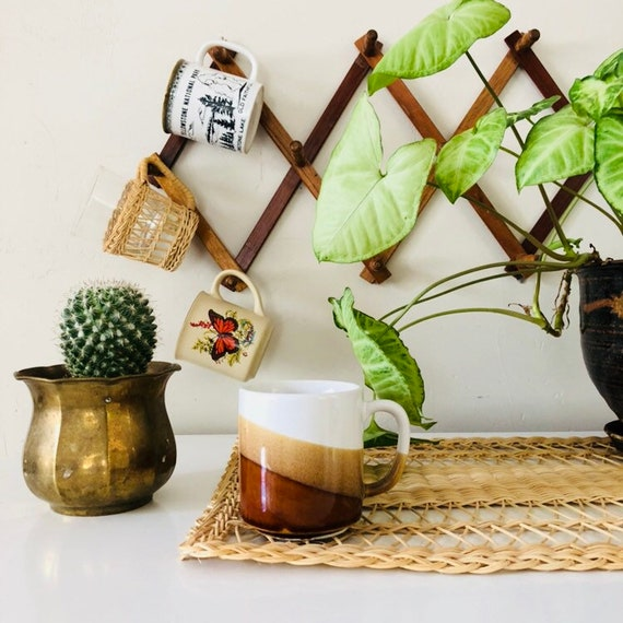 Vintage Brown Striped Coffee Mug Ceramic Brown Beige + White Wavy Stripes Coffee Cup Boho Drinkware