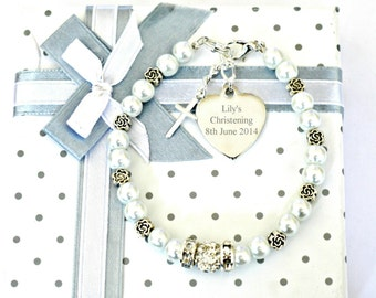 Personalised Engraved Christening Baptism Holy Communion Bracelet
