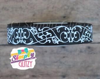 5 yards BLACK Ribbon with Swirly Swirls Damask Glitter Print 7/8 Inch Grosgrain Ribbon