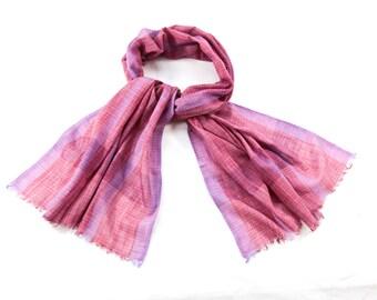 "Fushia ""Ikat Grid"" Vibrant Handwoven Handloom Eco-Friendly Scarf // Lightweight Summer Scarf for Women // Pink Fuchsia Shawl Wrap"