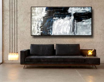 "72x32"" Black White Gray Blue Original Abstract Painting Extra Large Acrylic Painting Wall Art Modern Art decor"