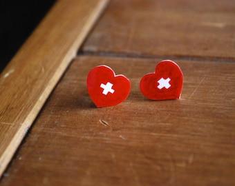Nurse Heart Earrings -- Studs, Nurse Earrings, Red Heart Studs, Medical