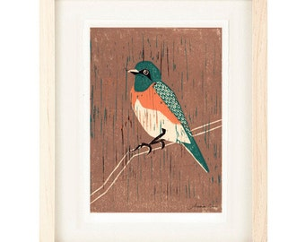 WESTERN BLUEBIRD Linocut Reproduction Art Print: 4 x 6, 5 x 7