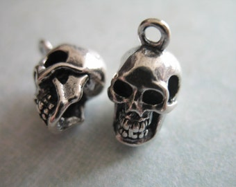 Sterling Silver Skull Pendants Sugar skull charm necklace day of the dead jewelry silver 1 5 10 pcs sterling silver skull charm pendant 14x9 mm 3 d audiocablefo
