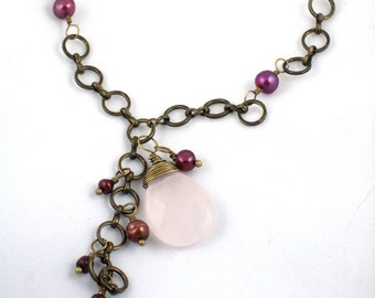 Rose Quartz and Brass Chain with Cranberry Pearls