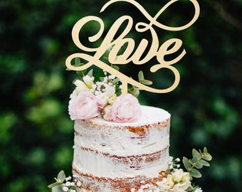 Wood Cake Topper Wedding Cake Topper Love Cake topper Golden Cake Topper Anniversary Cake Topper Custom Cake Topper Personalized Topper