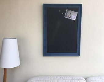 Large blackboard. A2 magnetic blackboard. Blue framed blackboard. Framed chalkboard Magnetic chalkboard Kitchen blackboard Family blackboard