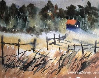 Original Watercolor Aquarelle Field Scene with House