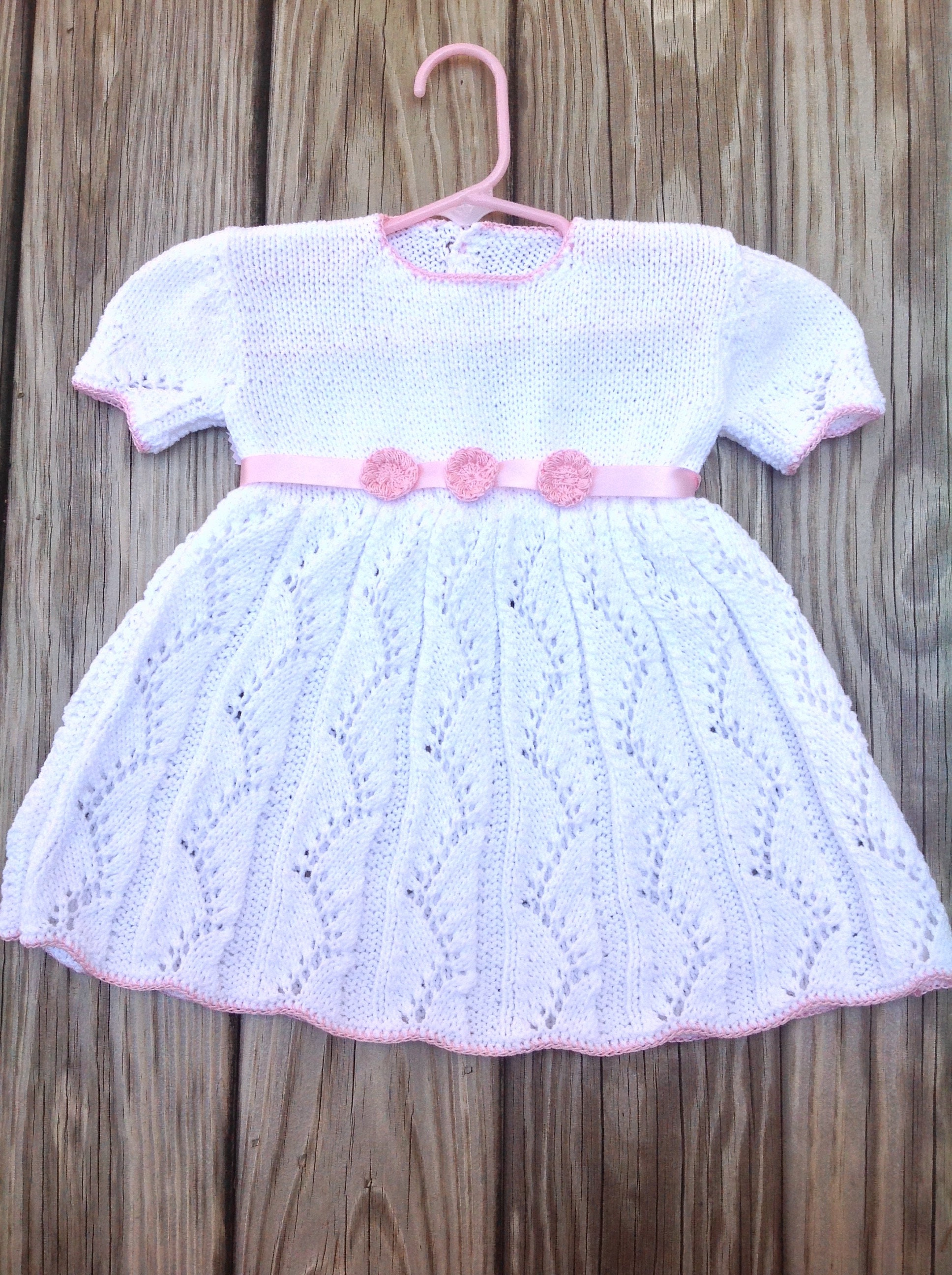 Knit baby dress with pink belt knitted white dress pink