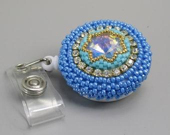 Beaded Badge Holder, Crystal Badge Reel, Blue Name Badge Holder