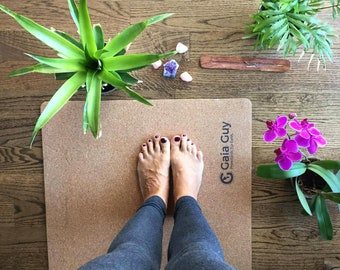 "Travel Cork Yoga Mat + Natural Rubber - 72"" x 24"" x 3mm (4.1lbs) - Portable, Light, Best Non-slip Mobile Mat! Free Yoga Mat Sling too!"