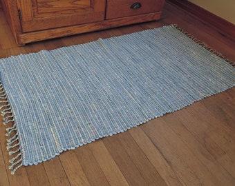 "Hand Woven Rag Rug Light Blue Cotton 26"" x 46"""