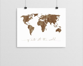 Great Commission World Map   |   watercolor bible verse christian missions quote