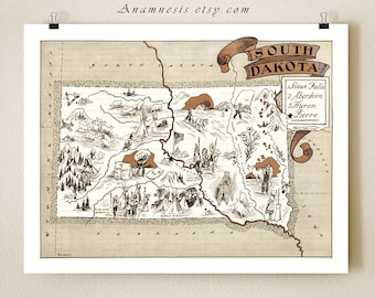 SOUTH DAKOTA MAP - vintage picture map print - gift idea - size & color choices - may be personalized - wall decor  midwest home decor