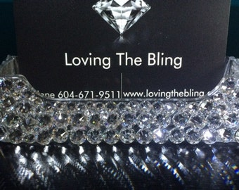 Bling business card etsy swarovski crystal desk full crystal coverage clear acrylic business card holder colourmoves
