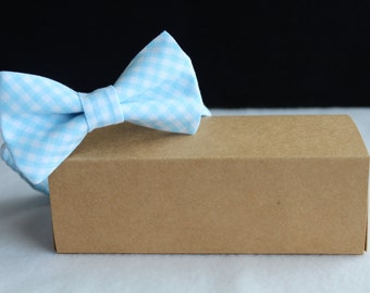 light blue gingham bow tie for boys, toddler, baby, youth and men. Blue plaid bow tie. Wedding bow tie. Ring bearer bow tie