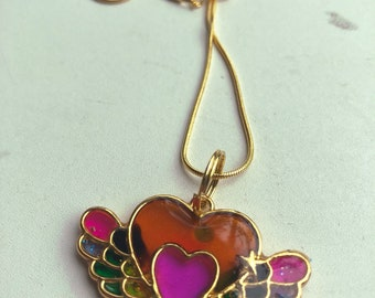 Flying Rainbow Hearts Resin Cast Pendant Goldtone Necklace