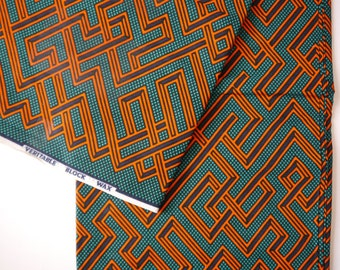 Green and red geometric print african wax print cotton