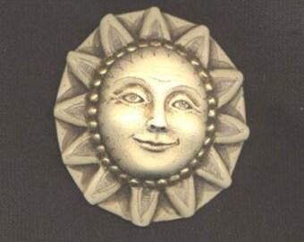 Sun engraved scrimshaw technique resin Moosup pendant