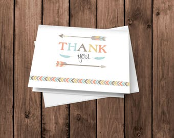 Tribal Thank You Cards   New Adventure Notecards   Tribal Stationery   Folded Card   Blank Thank You Card