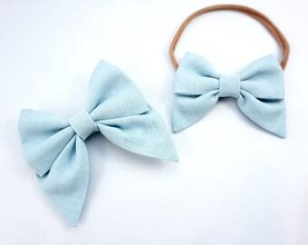 Linen Lt.Blue Sailor Bow Headband Nylon Skinny Headband or Clip