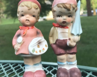 Vintage Salt and Pepper Shakers by Enesco in Hummel style boy girl