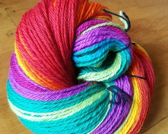 Rainbow Handspun Wool, Handspun Yarn, DK weight yarn