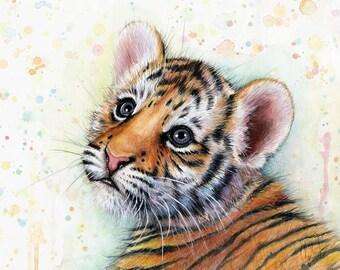 Tiger Cub Baby Animal Nursery Art, Tiger Watercolor Painting, Baby Boy Nursery, Baby Girl Nursery, Jungle Animal, Baby Tiger, Baby Animal