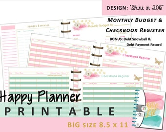 BIG Happy Planner Monthly Budget and Checkbook Register Inserts PRINTABLE - PDF - 8.5 x 11 Letter   Create 365   Me & My Big Ideas   mambi