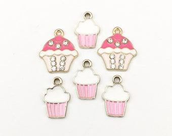 6 cupcake charms gold and  pink enamel 16 to  20mm# CH 139