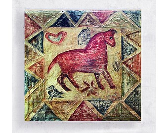 Horse Art - Quilt Art - Whimsical Animal Wall Art - Red Horse with Quilt Work Border - Canvas Print on 5x5 Art Block - Children's Room Decor