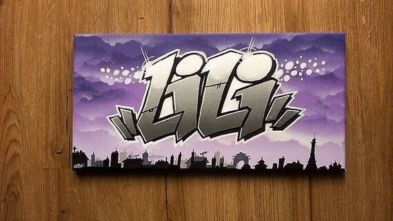 toile tableau graffiti tag pr nom street art d co murale. Black Bedroom Furniture Sets. Home Design Ideas