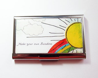 Business Card Case, Card case, business card holder, Stainless steel case, Make your own sunshine, inspiration  (4274)