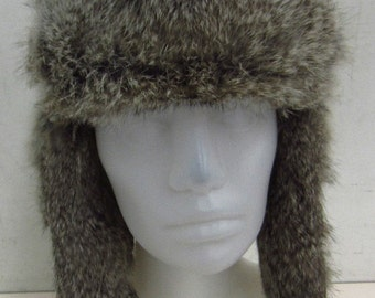 Fab Bomber Hat with Rabbit Fur Trim