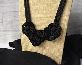 Necklace for women, Multistrand statement knot rope necklace, Black textile jewelry, Bohemian jewellery, Gift for her
