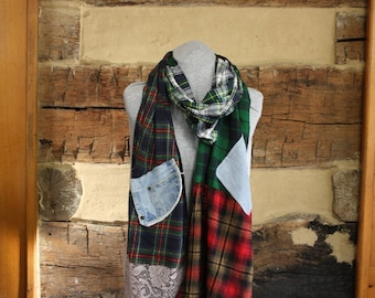 Tartan Flannel Scarf Rustic Plaid Boho Chic Scrappy Scarves Mori Girl Tattered Upcycled Hippie Patchwork Scarf Anthropologie Style Neck Wrap