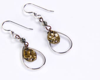 Silver and antique copper teardrop earrings