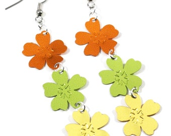 Hawaii Luau Earrings Flowers Earrings Orange Green & Yellow Confetti Dangles Plastic Sequins