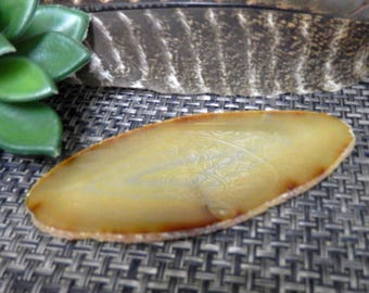 Natural Agate Slice - ONE OF A Kind - Oblong Shape - Golden Yellow - Pretty Display Piece!  (RK64B11-21)